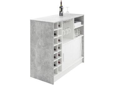 MID.YOU BARTISCH rechteckig Weiß, Grau , Metall, 48x100x110 cm