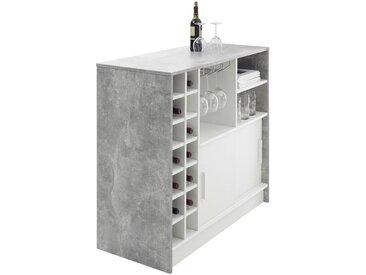 Livetastic BARTISCH rechteckig Weiß, Grau , Metall, 48x100x110 cm