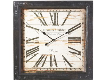 Ambia Home WANDUHR Schwarz , Holz, Metall, Glas, Papier, Tanne, 80x80 cm