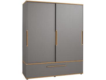 Paidi SCHIEBETÜRENSCHRANK 2-türig Grau, Braun , 7 Fächer, 164x200x62 cm