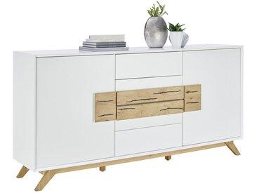 Xora SIDEBOARD Eiche massiv Weiß, Braun , Holz, 4 Fächer, 178x89x40 cm