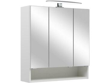Xora SPIEGELSCHRANK Weiß , 3 Fächer, 65x70x18 cm