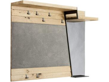 Voglauer GARDEROBENPANEEL Wildeiche furniert, mehrschichtige Massivholzplatte (Tischlerplatte) Grau, Braun , Holz, Glas, Stein, 128.2x101x34.7 cm