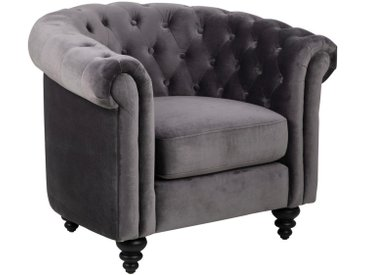 MID.YOU Chesterfield Sessel Samt Grau , Kautschukholz, massiv, 99x78x81 cm