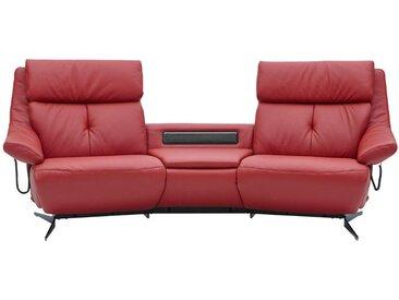 Himolla Komfortklass HEIMKINO-SOFA Echtleder Rot , Leder, Uni, 2-Sitzer, 254x107x105 cm