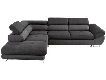 Hom`in WOHNLANDSCHAFT Schwarz, Grau Webstoff , 5-Sitzer, 235 cm