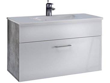 Livetastic WASCHTISCHUNTERSCHRANK Weiß , Weiß, Grau, Stein, 80x50x46 cm