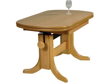 MID.YOU COUCHTISCH Buche furniert, massiv oval Braun , Holz, 60x56-72 cm