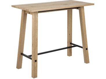 MID.YOU BARTISCH Eiche furniert, massiv rechteckig Schwarz, Braun , Holz, Metall, 60x105 cm