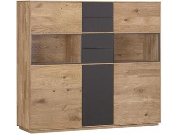 Valnatura HIGHBOARD Wildeiche massiv Braun , Holz, Glas, 156.5x138x42 cm