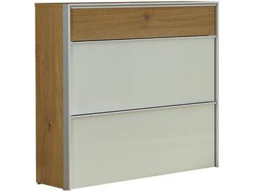 Dieter Knoll SCHUHKIPPER Weiß, Braun, Silber , Weiß, Eiche, Alu, Metall, Glas, 102x98x34 cm