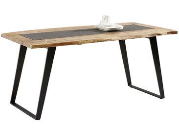 Ambia Home ESSTISCH Akazie massiv rechteckig Schwarz, Braun , Holz, Metall, 90x76 cm