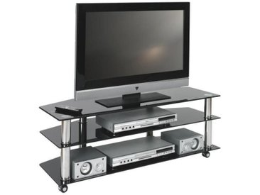 XXXLutz TV-RACK Metall, Glas Schwarz, Silber , Kunststoff, 110x40x45 cm