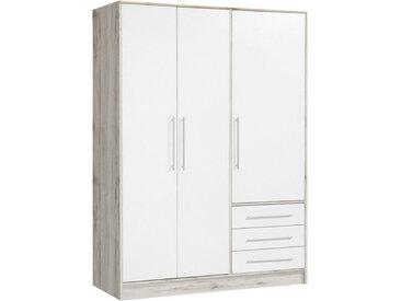 Carryhome DREHTÜRENSCHRANK 3-türig Weiß, Braun , 145x200x60 cm