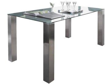 Dieter Knoll ESSTISCH rechteckig Grau, Silber , Metall, Glas, 80x77 cm
