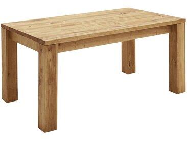 Hom`in ESSTISCH Wildeiche massiv rechteckig Braun , Holz, 90x75x140(210) cm