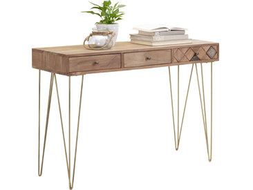 Ambia Home KONSOLE Akazie massiv Braun, Orange , Akazie, Bronze, Holz, Metall, 42x78 cm