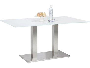 Dieter Knoll ESSTISCH rechteckig Weiß, Silber , Metall, Glas, 70x77 cm
