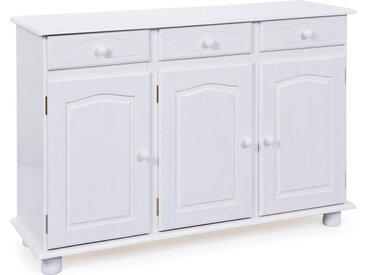 Livetastic KOMMODE Kiefer massiv Weiß , Holz, 2 Fächer, 130x87x43 cm
