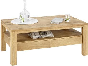 Linea Beigea COUCHTISCH Wildeiche massiv rechteckig Braun , Holz, 70x48 cm