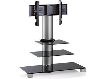 MID.YOU TV-RACK Metall, Glas Schwarz, Silber , 100x107x44 cm