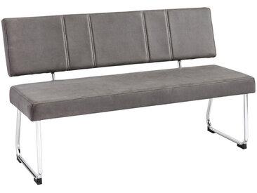 Ti`me SITZBANK Mikrofaser Grau , Chrom, Grau, Metall, 2-Sitzer, 140x85x59 cm