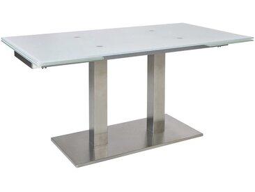 Dieter Knoll ESSTISCH rechteckig Weiß, Silber , Metall, Glas, 90x77x140(220) cm