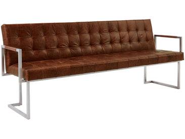 Musterring SITZBANK Echtleder Braun, Silber , Metall, Leder, Vintage, 4-Sitzer, 220x85x67 cm
