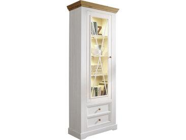 Livetastic VITRINE Kiefer massiv Weiß, Braun , Holz, 3 Fächer, 79x214x42 cm