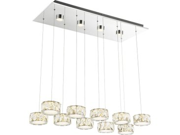 XXXLutz LED-HÄNGELEUCHTE , Chrom, Weiß, Metall, Kunststoff, Glas, 36x120 cm