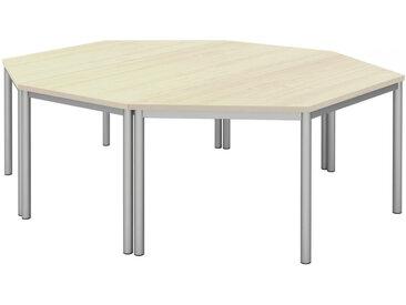 Moderano KONFERENZTISCH Grau, Beige, Silber , Grau, Ahorn, Alu, Metall, 160x72 cm