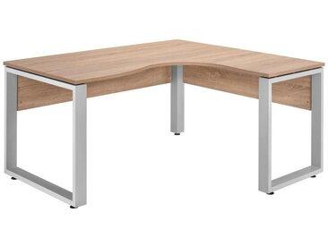 XXXLutz ECKSCHREIBTISCH Grau, Braun , Silber, Eiche, Metall, 160x75 cm