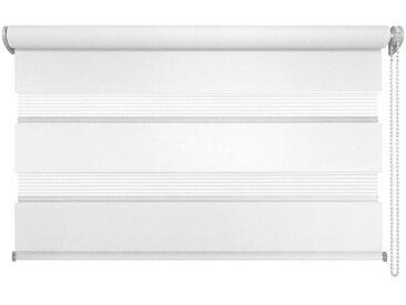 XXXLutz DUOROLLO halbtransparent 140/160 cm , Weiß, Weiß, Streifen, 140 cm