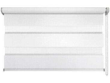 XXXLutz DUOROLLO halbtransparent 140/160 cm , Weiß, Weiß, Streifen, 140x160 cm
