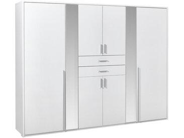 Carryhome KLEIDERSCHRANK 8-türig Weiß , 4 Fächer, 270x210x58 cm