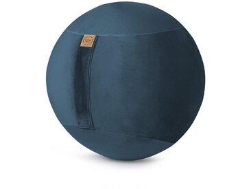 XXXLutz SITZBALL Samt Uni Grau , Blau, 145 L
