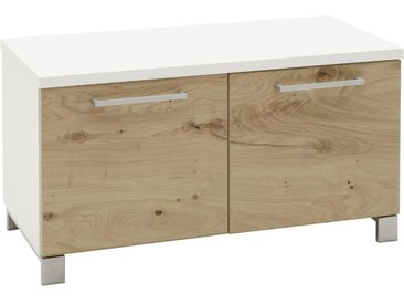 Dieter Knoll GARDEROBENBANK Balkeneiche furniert Weiß, Braun , Metall, 1-Sitzer, 84x45x40 cm