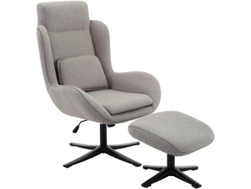 Carryhome RELAXSESSELSET Webstoff Relaxfunktion, Hocker , Weiß, 75x109x81 cm