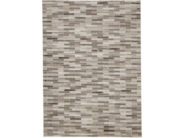 Linea Beigea LEDERTEPPICH 160/230 cm Grau, Grau , Echtleder, Graphik, 160x230 cm