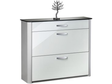 Moderano SCHUHKIPPER Weiß, Silber , Silber, Weiß, Alu, Metall, Glas, 117x97x34 cm