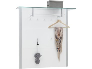 Dieter Knoll GARDEROBENPANEEL Weiß, Silber , Metall, Glas, 112x117x33 cm