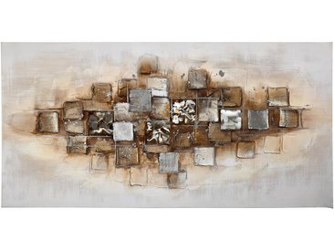 Monee ÖLGEMÄLDE Strukturen , Mehrfarbig, Holz, Kiefer, massiv, 70x140 cm