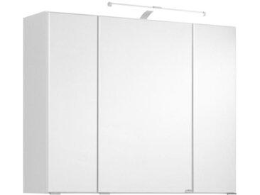 Xora SPIEGELSCHRANK Weiß , Glas, 6 Fächer, 80x64x20 cm