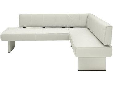 Moderano ECKBANK Echtleder Buche massiv Grau , Holz, Leder, 4-5-Sitzer, 166 cm