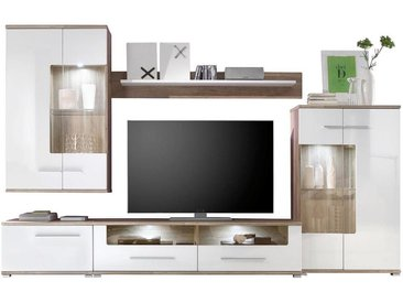 Carryhome: Wohnwand, Glas, Holzwerkstoff, Weiß, Eiche, B/H/T 310 195 44,4