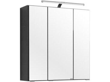 Carryhome SPIEGELSCHRANK Grau , Glas, 6 Fächer, 60x66x20 cm