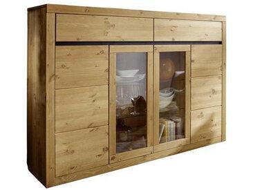 Livetastic HIGHBOARD Kiefer massiv Braun , Holz, Glas, 6 Fächer, 170x125x42 cm