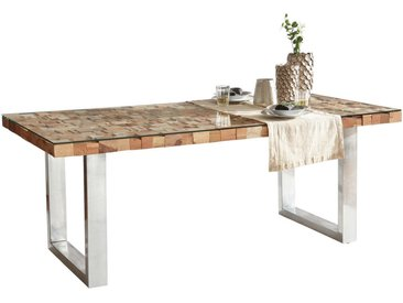 Ambia Home ESSTISCH Altholz, Recyclingholz massiv rechteckig Mehrfarbig , Holz, Glas, 100x77 cm