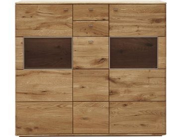 Voleo HIGHBOARD Eiche massiv , Holz, 4 Fächer, 153x136x39 cm