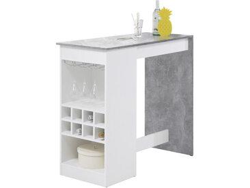 MID.YOU BARTISCH rechteckig Weiß, Grau , Metall, 50x104 cm
